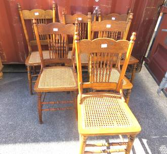 Set of 6 Antique Spindle Back Chairs $1500.00
