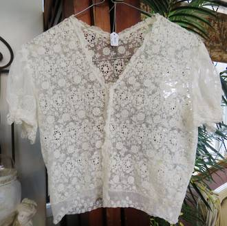 Antique hand made Tambour Lace top