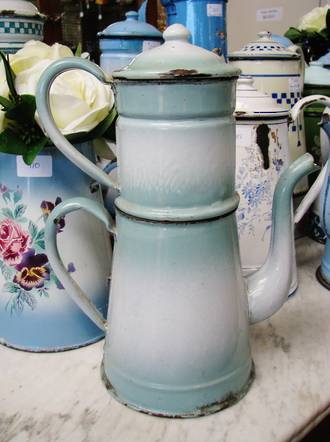 Antique French Coffee Pot, Enamel Ware