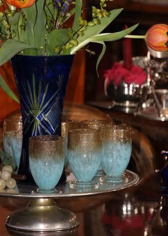 Hand-Blown Copper Adventurine Art Glass Water or Wine Goblets Set of 6
