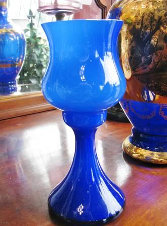 Mid Century Blue Hand Blown Cased Glass Vase Goblet