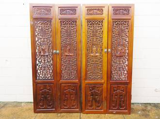 Finely Carved Door Panels ~ Chinese Cedar $3000 set of 4