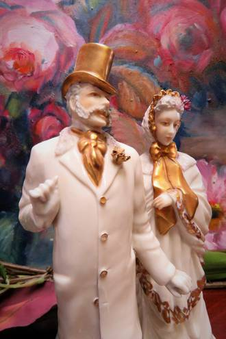 Pr Continental Gilt White Porcelain Quirky Figures $295 pair