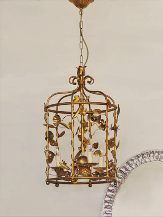 Vintage Gilded Wrought Iron Bird Cage Chandelier SOLD