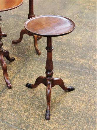 Petite French Walnut Occasional Table - Pedestal Base & Hairy Hoof Feet SOLD