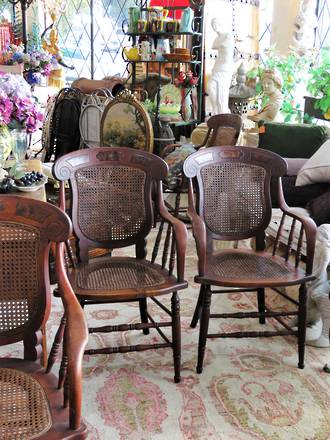 Unique Antique American Cane Back Carver Dining Chairs - Set of 5 $2500.00