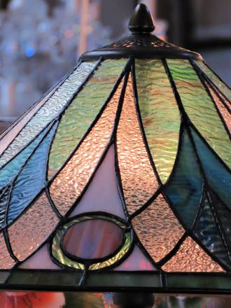 Peacock Coloured leadlight Table Lamp SOLD