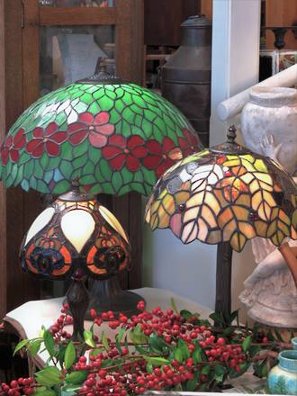 Hand-made Mosaic Glass Table Lamps - Forest Trees & Berries