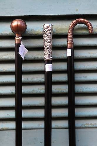 Reproduction Ebony, Copper & Silver plate Walking Sticks $69.50