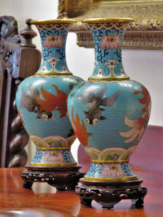 A Pair of Vintage/Antique Chinese Cloisonne Vases