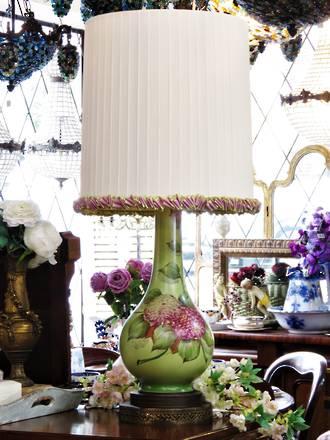 Large Hand-Painted Porcelain Table Lamp - Bespoke English Ribbon Shade
