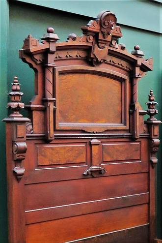 Impressive French Antique Carved Mahogany & Burr Walnut  Bed - Queen $3950