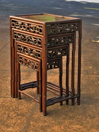 Antique Carved Chinese Nest of Tables $1350.00 set