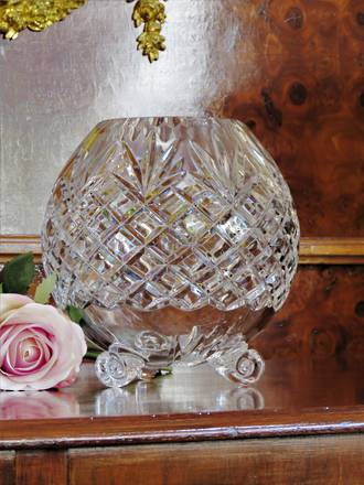 Large footed Cut Crystal Rose Bowl SOLD