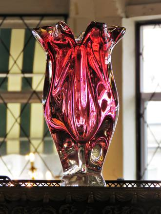 Large Tall Mid Century Murano Art Glass Vase - Cased Cranberry Ruby Graduating Tones