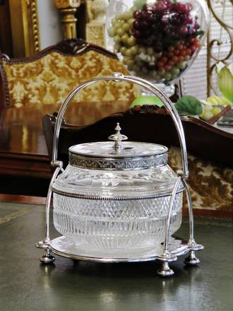 Fancy Cut Crystal Biscuit Barrel SOLD