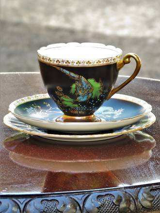 Rare Art Deco Black Enamel Shelley Trio - Cup, Saucer, Plate -Chinoiserie