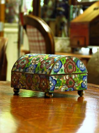 Vintage Cloisonne Floral Jewellery Chest or Trinket Box