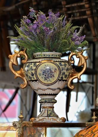 Large Classical Urn or Amphora Shaped Pedestal Vase in Gilded Porcelain $550.00