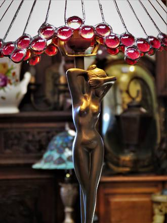 Nude Bronze Lady Lamp Tiffany Style $425.00