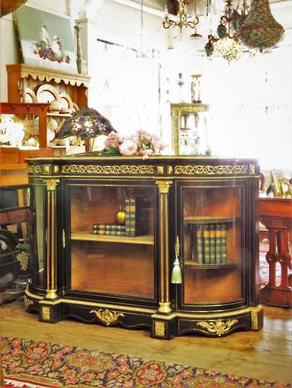 French Antique Empire Style Black Lacquered Credenza With Gilded Ormolu Mounts $4750.00