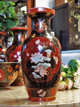 Mid Century Hand-Painted Famile Noire  Porcelain Vase - Small $199