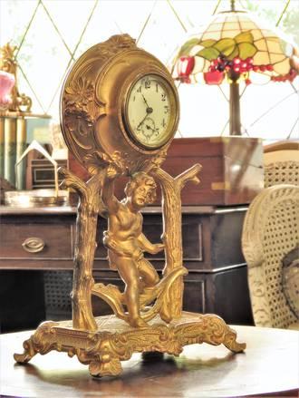 Antique French Gilded Bronze Cherub Clock