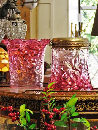 2 x Large Cranberry Glass Victorian Light Shades SOLD