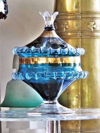 Antique Hand-blown Venetian Glass Lidded Dish - Rare Gilded Teal