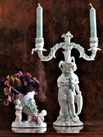 18th Century Meissen Porcelain Candelabra - Boy holding Fish with Applied Floral Wreath