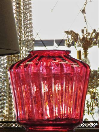 Large Cranberry or Ruby Glass Lamp Shade - Genuine Victorian
