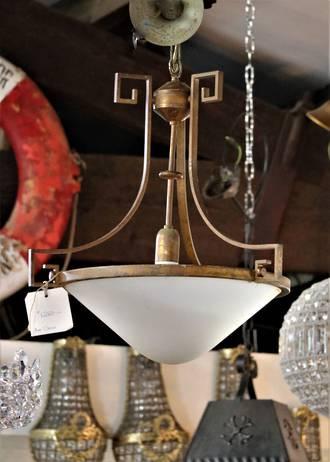 Huge Art Deco Bronze & Glass Light $1250.00
