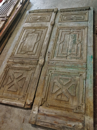 Very large Antique Doors with carved panels. $5000.00 pair