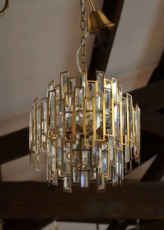 Mid Century Modern Inspired Cut Crystal Chandelier