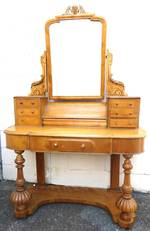 Antique Victorian Satinwood Dresser with Mirror & Ornate Carving $2250
