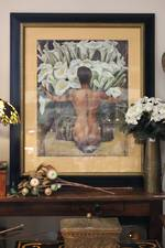 "Huge Glazed Print Diego Rivera's ""Woman With Calla Lilies"" Frida Khalo Modelling $750"
