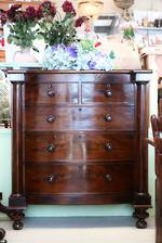 Georgian Era Cuban Mahogany Bow Front Chest of Drawers circa $3500.00