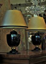 Empire Style Pair of Lamps, Gold & Black, Silk Shades $795.00
