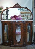 Mahogany Credenza with Mirrored Front & Marbled Top $3250