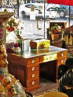 Very Fine Colonial Kauri Pedestal Desk - Leather Top $2950.00