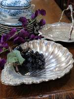 Deep Scallop Shell Antique Silver Plate Dish $135