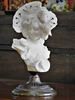 Art Nouveau Italian Carved Alabaster Bust on a Bronze Pedestal Base by Aldolfo Cipriani $1950.00