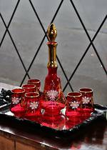 Venetian Hand-Blown Ruby Glass Decanter Set