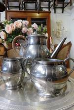 Arts & Crafts Hand Worked English Pewter Tea or Coffee Set