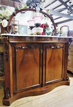Victorian Walnut Marble Topped Chiffonier Narrow SOLD