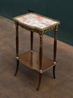 French Console, Hall or Parlor Table - Marble Topped with Fancy Brass Ormolu Surround $1250