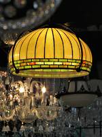 Large Pendant Ceiling Lead Light Glass Shade -  Arts & Crafts Style