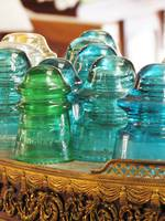 Antique Glass Insulators - Various Colours - Designs $15 - $35