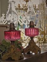Cranberry Glass Kerosene Lamp - Close Matching Pair $350 each