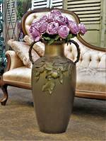 Huge German Brass Floor Vase with Applied Fruit